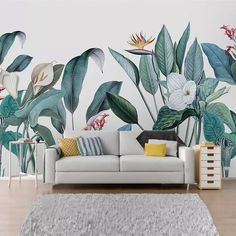 Watercolor Tropical Plants Wallpaper, Flower and Birds with Green Plants Wall Mural, Plants Living Room or Bedroom Wallpaper Wall Murals - Pflanzen Wallpaper Wall, Plant Wallpaper, Custom Wallpaper, Bedroom Wallpaper, Watercolor Wallpaper, Garden Mural, Tropical Plants, Green Plants, Flower Plants