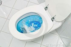 Cleaning the toilet. The toilet in a bathroom is cleaned. housework and cleaning ,