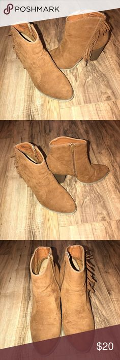 Fringe Booties Fringe Booties, Great Condition other than Water Stains Rebel Shoes Ankle Boots & Booties