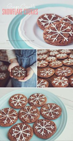 Delicious and super soft Ginger Crinkle Cookies with white chocolate snowflakes. Would be cute with sugar cookies and a light blue icing Christmas Sweets, Christmas Cooking, Noel Christmas, Xmas, Just Desserts, Delicious Desserts, Yummy Food, Holiday Treats, Holiday Recipes