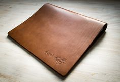 A3 Brown Leather Print Portfolio Book, flip over format with with personalised embossed cover. Handmade by Hartnack and Co