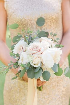Rose and eucalyptus wedding bouquet: http://www.stylemepretty.com/new-jersey-weddings/2017/03/27/all-that-glitters-is-this-gold-infused-celebration/ Photography: Something Blue NJ - http://somethingbluenj.com/