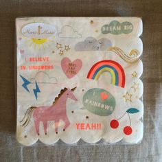 These adorable scalloped napkins have everything necessary to wipe your face off with--unicorns, rainbows, hearts, and a reminder to…