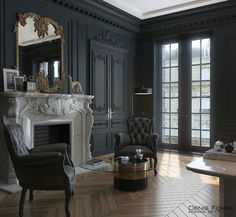 31 Ideas Black Parisian Interior Design Home Office. Interior design is now the field of television shows. It has also become the subject of radio shows. It can be overwhelming once you're faced with thi. Dark Interiors, Office Interiors, Interior Office, Paris Apartment Interiors, Casa Art Deco, Home Office Design, House Design, Black Interior Design, Gothic Interior