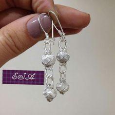 Knots, Drop Earrings, Crochet, Model, Silver, Angles, Jewelry, Fashion, Ear Jewelry