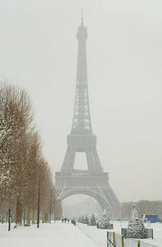 The Eiffel Tower on a rare snowy day in Paris