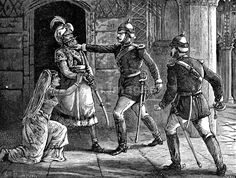 """Bahadur Shah II seized by William Hodson during Indian Mutiny of 1857-1858    Original caption: """"Hodson Seizing the King of Delhi."""" Refers to British officer William Hodson, known for his brutality during the Indian Mutiny (AKA Sepoy Rebellion) of 1857-1858. The """"King of Delhi"""" was Bahadur Shah II, the last of the Mughal emperors, and he actually reigned over most of India. Image published: 1901."""