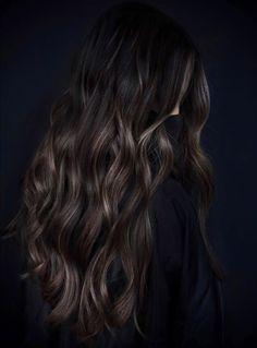 Long Black Hair with Brown Babylights Black Hair With Brown Highlights, Black Hair With Highlights, Hair Color Highlights, Dark Brunette Hair, Dark Hair, Long Black Hair, Black Curly Hair, Plum Hair, Short Black Hairstyles