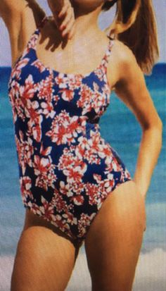 4b92d847498d8 New Rosa Faia Blue & Red Swimsuit UK 12 for C cups One piece swimming  costume