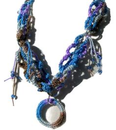 Boho Crochet #Necklace in Blues, Purple, and Brown with Matching Pendant #handmadejewelry #handcrafted
