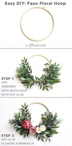 Easily DIY your very own faux floral hoop for alternative bridesmaids bouquets, or even to use as wall decor at your wedding! #weddingflowersforweddingparty Wedding Wreaths, Wedding Wall Decorations, Diy Wedding Backdrop, Flower Wall Wedding, Floral Decorations, Floral Wreaths, Deco Wreaths, Floral Hoops, Projets Diy