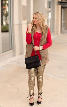 How To Wear Gold Sequin Leggings - The Fancy Things. Red long sleeved tee+golden sequin leggins+black lace-up heels+beige fur vest+black shoulder bag+golden jewelry. Black Sequin Leggings, Gold Sequin Skirt, Black Fur Vest, Red Leggings, Leggings Are Not Pants, Red Skirt Outfits, Dope Outfits, Teen Outfits, Schnür Heels