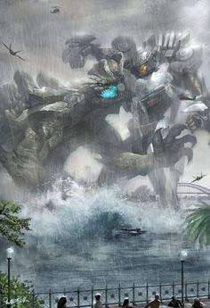 Pacific Rim-Striker Eureka by wang junling on ArtStation. Pacific Rim Striker Eureka, Pacific Rim Kaiju, Pacific Rim Jaeger, Godzilla, Giant Monster Movies, Arte Robot, Monster Art, Sci Fi Art, Cool Art