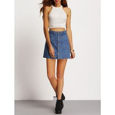 Single Breasted Denim A-Line Skirt ❤ liked on Polyvore featuring skirts, denim skirt, a line skirt, knee length a line skirt, a line denim skirt and knee length denim skirt