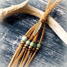 Feather Necklace Boho Jewelry Leather Tassel Necklace - PASTEL GREEN - Bohemian Jewelry Tribal Necklace Hippie Necklace - Braided Necklace by xxxAZUxxx on Etsy https://www.etsy.com/dk-en/listing/161722726/feather-necklace-boho-jewelry-leather