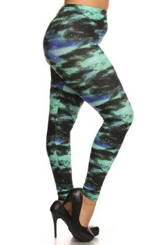 Leggings Depot NEW ARRIVALS Womens Popular BEST Printed Plus Fashion Leggings Green Galaxy -- Continue to the product at the image link. (This is an affiliate link) Plus Size Leggings, Knit Leggings, Misty Night, Green Galaxy, Leggings Depot, Sky Design, Leggings Fashion, Sexy Body, Fashion Prints