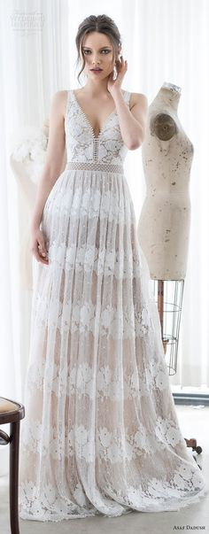 asaf dadush 2017 bridal sleeveless v neck full embellishment romantic soft a  line wedding dress open v back sweep train (12) lv -- Asaf Dadush 2017 Wedding Dresses