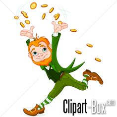 CLIPART LEPRECHAUN WITH GOLD COINS