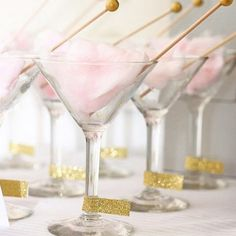 Pink cotton candy in a martini glass. #gold #treat #sweet #celebration