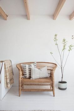 Wicker chair love in Holly Marder's studio.