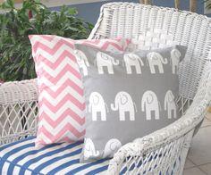 "Pillow, Pink Pillow, Baby, Baby Girl Nursery, Chevron Pillow, Gray Elephant Pillow, Set of 2 -18"" x 18"" on Etsy, $34.00"
