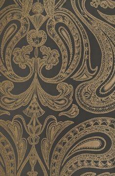 Malabar Wallpaper Dark Cocoa With Large Metallic Copper Paisley Design In White