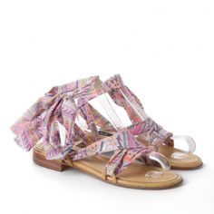Gladiator leather sandals with PAISLEY ROSE printed ribbons Tiendas 727f9479bb4