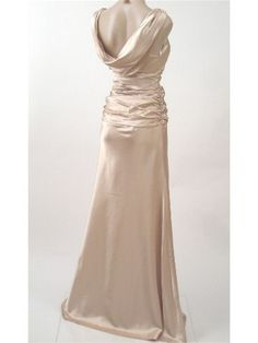champagne satin draped back prom gown, wedding dress, special occasion dresses
