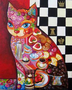 Discover great art by contemporary artist Oxana Zaika. Browse artworks, buy original art or high end prints. Art Fantaisiste, Owl Art, Art Pictures, Art Images, Cat Art Print, Art Original, Cat Colors, Cat Crafts, Cat Drawing
