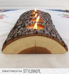 Medio tronco se puede convertir en un porta velas muy peculiar... eso sí, utiliza tocones de árboles ya talados o de ramas recortadas
