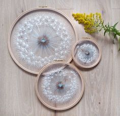"""Large """"Make a Wish"""" Dandelion Tulle Embroidery Hoop Art - Hand Embroidery by Velvet Meadow - Contemporary artwork wall decor Hoop Size Hand Embroidery Art, Wooden Embroidery Hoops, Embroidery Thread, Embroidery Patterns, Etsy Embroidery, Wedding Embroidery, Bordados E Cia, Bohemian Wedding Decorations, Tulle Fabric"""
