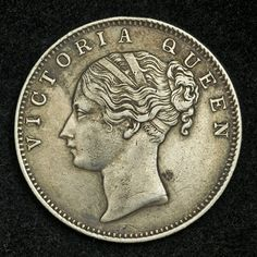 British India coins, East India Company - one Rupee  Silver Coin of 1840, Young bust of Queen Victoria