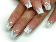 Elegant Nail Art in silver and white (French style) ♡