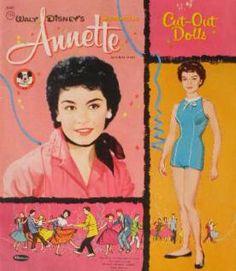 annette funicello dolls   ANNETTE FUNICELLO Paper Dolls (ANNETTE with a black scarve) (unused c ...