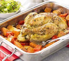 Geroosterde kip met zoete aardappel en rode ui