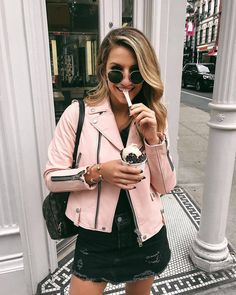 Pink Leather Jacket - NYC Street Style - Places to eat in NYC