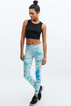 Without Walls Printed Running Tights in Blue Marble