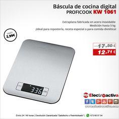 ¡Precisión y diseño para tu cocina! Báscula de cocina digital PROFICOOK KW 1061 http://www.electroactiva.com/proficook-balanza-de-cocina-kw-1061.html #Elmejorprecio #Báscula #Electrodomestico #PymesUnidas
