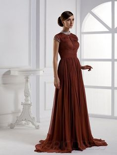Gorgeous A-Line Sweep-Length High-Neck Cap-Sleeves Mother of Bride Dress Modest Mother Dresses- ericdress.com 8888474