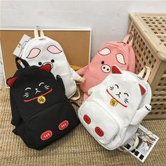 Cute Cat Canvas Backpack Cartoon Women Backpacks for Teenage Girls School Bag Fashion Black Pink Pig Kawaii Bags, Kawaii Shop, Kawaii Clothes, Bags For Teens, School Bags For Girls, Cute Backpacks, College Backpacks, Leather Backpacks, Leather Bags