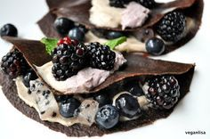 Raw Vegan Carob Crepes with Coconut Cream -- Replace the agave with dates or…