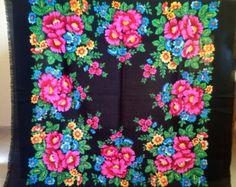 Vintage Black Gypsy Shawl Russian black shawl by RussianScarf