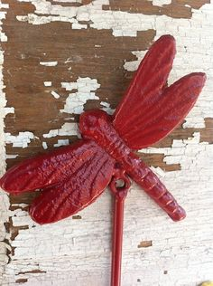 Cast Iron Wall Hook Dragonfly Farmhouse Red by CamillaCotton