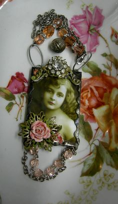 Soldered Glass Assemblage Necklace  Rosebud by Vintagearts on Etsy, $65.00