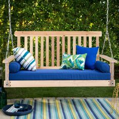 4' Wood Garden Hanging Seat Chains Porch Swing $89.95 + Free Shipping This beautifully designed porch swing will complement your outdoor furniture setting