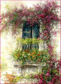 ✿Flowers at the window & door✿ Garden Painting, Painting & Drawing, Pinterest Arte, Italian Paintings, Beautiful Paintings, Painting Inspiration, Flower Art, Watercolor Paintings, Decoupage