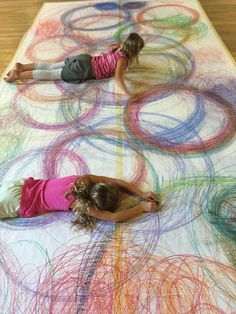 Human spirographs action art for kids large scale art k 8 art class elementary art boho wall decor nursery bohemian decor baby shower gift feather wall hanging wood wall art wood art baby gift modern art gift Kindergarten Art, Preschool Art, Arte Elemental, Classe D'art, Grand Art, Large Scale Art, Large Format, Ecole Art, Process Art