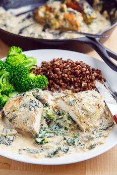 Spinach and Artichoke Stuffed Chicken Try with spinach and mushroom sauce (not stuffed chicken)