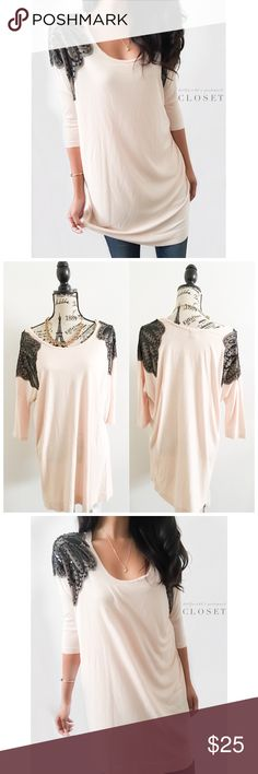 """H&M Pink + Black Glam Sequin Tunic ✦ this pretty piece can be worn as a long tunic top or a dress. It has slightly dolman styled sleeves with glam mesh & sequins on the shoulders  ✦{I am not a professional photographer, actual color of item may vary ➾slightly from pics}  ❥chest:26"""" ❥waist:25"""" ❥length:33"""" ❥sleeves21"""": ➳material/care:viscose/machine wash  ➳fit:oversized medium ➳condition:pre-loved/good no rips/stain  ✦20% off bundles of 3/more items ✦No Trades  ✦NO HOLDS ✦No lowball…"""