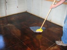 How to acid stain concrete from start to finish. Great description of the process, lots of pictures, a few videos, and sense of humour included, too. Thanks Jason! - Link.